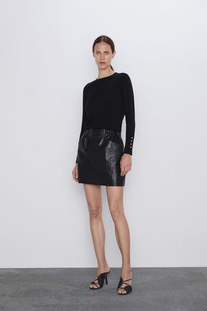 Zara Naiset Minihameet - Faux leather mini skirt with pockets