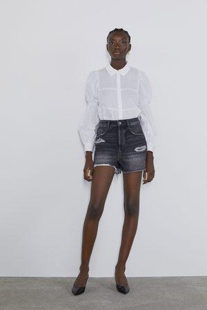 Zara Naiset Farkkushortsit - Ripped denim shorts