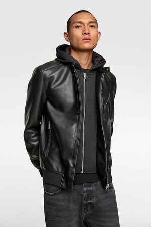 Zara Faux leather jacket with contrasting hood