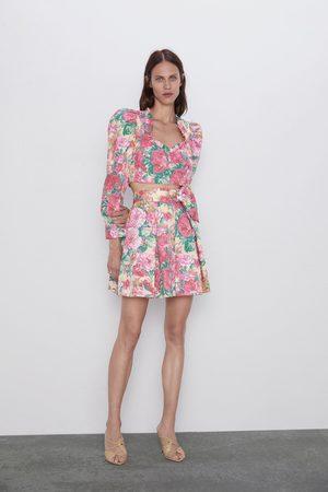 Zara Floral print mini skirt