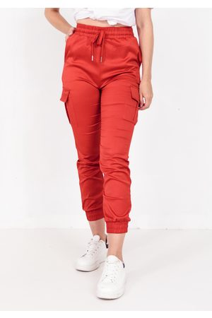 Shako Naiset Reisitaskuhousut - Satin Pocket Detail Cargo Trouser In Red