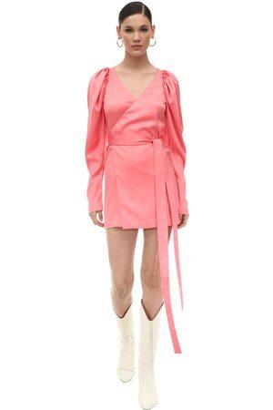 ROTATE Naiset Kesämekot - Satin Mini Wrap Dress