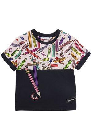 Dolce & Gabbana Tytöt T-paidat - Pencil Print Cotton Jersey T-shirt