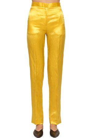 Jil Sander Slim Straight Leg Shiny Viscose Pants