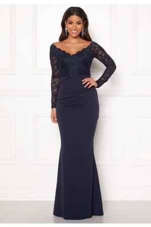 Goddiva Lace Trim Maxi Dress Navy XXL (UK18)