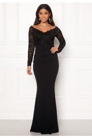 Goddiva Lace Trim Maxi Dress Black XS (UK8)