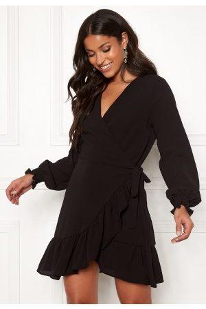 John Zack Naiset Kesämekot - Frilly Wrap Mini Dress Black S (UK10)