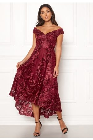Goddiva Embroidered Lace Dress Wine XS (UK8)