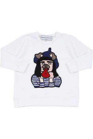 MICHAELA BUERGER Tytöt Collegepaidat - Cotton Sweatshirt W/ Knit Patch