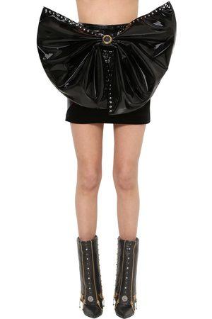 FAUSTO PUGLISI Stretch Vinyl & Velvet Mini Skirt W/bow