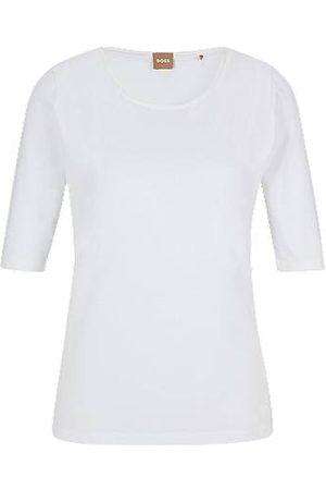 HUGO BOSS Slim-fit top in stretch jersey with silk trim