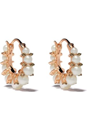 ANNOUSHKA Naiset Korvarenkaat - 18kt rose gold diamond pearl hoops