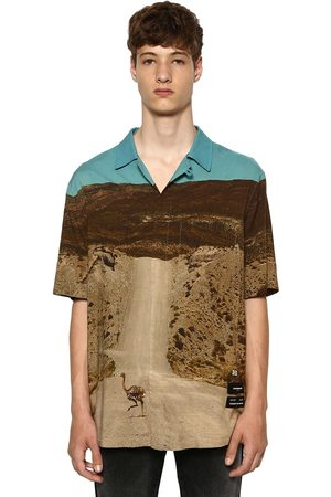 MARCELO BURLON All Over Ostrich Print S/s Viscose Shirt