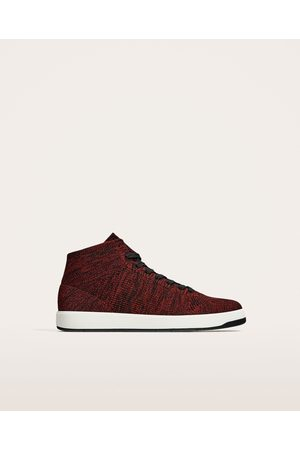 Zara RED TECHNICAL FABRIC HIGH TOP SNEAKERS