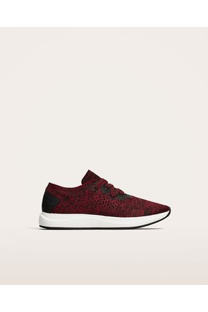 Zara DARK RED TECHNICAL FABRIC SNEAKERS