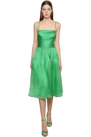 Ralph Lauren Naiset Midimekot - Draped Silk Satin Organza Midi Dress