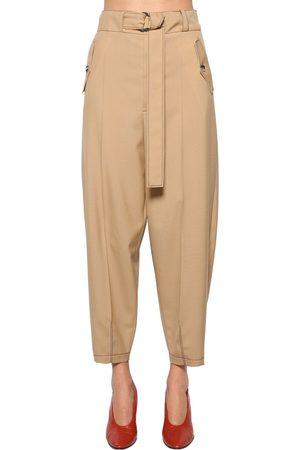 Marni Naiset Reisitaskuhousut - Belted Wool Gabardine Cargo Pants