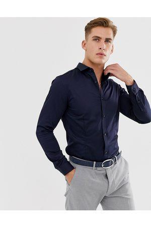 Jack & Jones Premium slim fit stretch smart shirt in navy