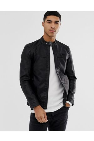 Only & Sons Faux leather racer jacket in black