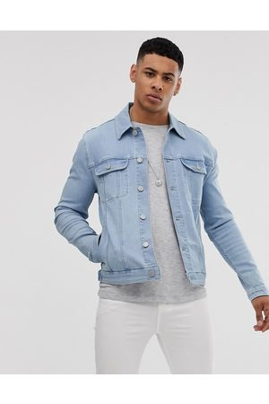 ASOS Skinny western denim jacket in bleach wash-Blue