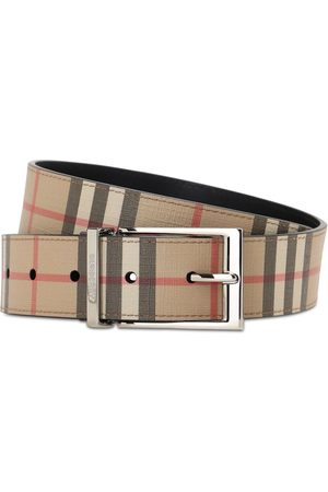 Burberry 35mm Reversible Check Faux Leather Belt