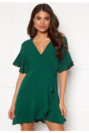 Ax Paris Frill Sleeve Wrap Dress Teal S (UK10)