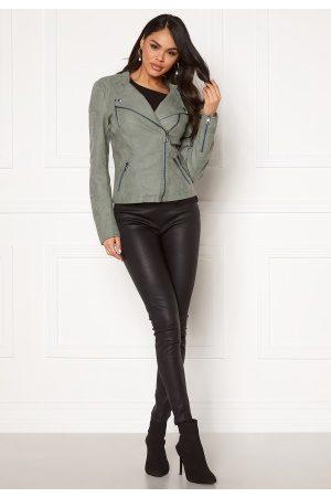 Only Naiset Talvitakit - Ava Faux Leather Biker Chinois Green 42