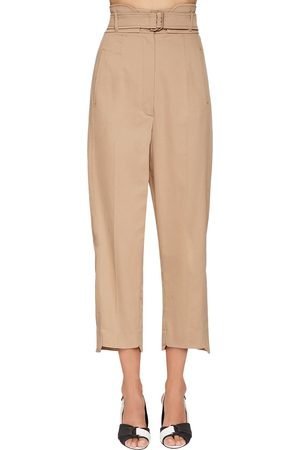 Sportmax Naiset Reisitaskuhousut - High Waist Cotton Gabardine Cargo Pants