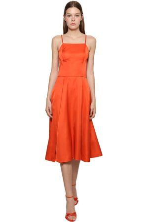Ralph Lauren Glossy Duchesse Chain Strap Midi Dress