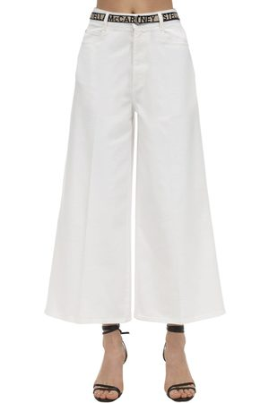 Stella McCartney Cropped Cotton Denim Wide Leg Jeans