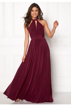 Goddiva Naiset Juhlamekot - Multi Tie Maxi Dress Berry M (UK12)