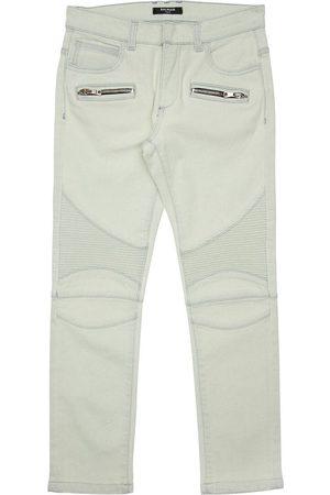 Balmain Stretch Cotton Biker Jeans