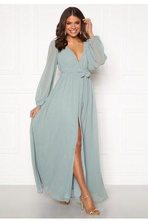 Goddiva Naiset Maksimekot - Long Sleeve Chiffon Dress Sage Green M (UK12)