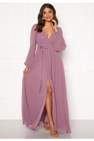 Goddiva Long Sleeve Chiffon Dress Dusty Lavendel XL (UK16)