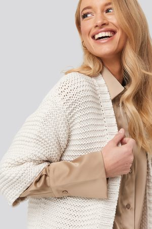 NA-KD Short Sleeve Heavy Knitted Cardigan - White