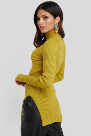 NA-KD Side Split Ribbed Sweater - Yellow