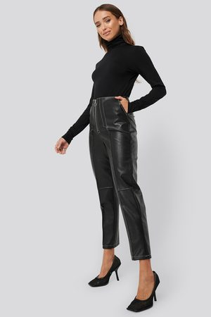 NA-KD Faux Leather Front Seam Pants - Black