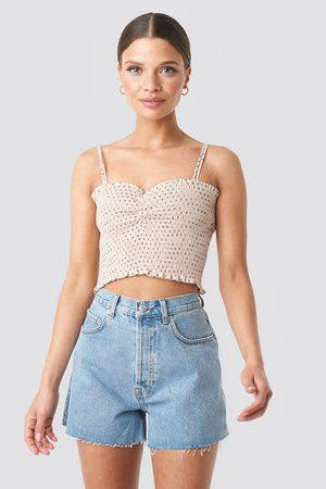 NA-KD Denim High Waist Shorts - Blue