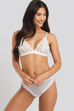 NA-KD Lace Basic Thong - White