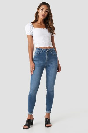 NA-KD Skinny Raw Hem Jeans - Blue