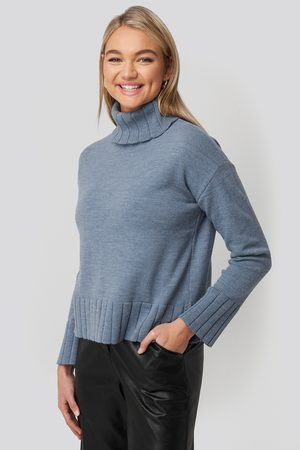 NA-KD Slouchy Turtle Neck Sweater - Blue