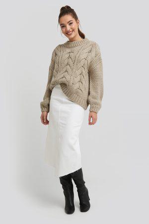 NA-KD Asymmetric Hem Denim Skirt - White