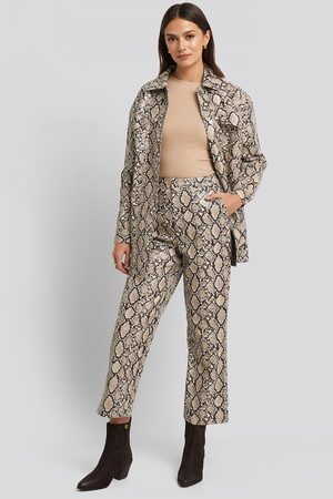 NA-KD Snake Printed Cropped Pants - ,Multicolor