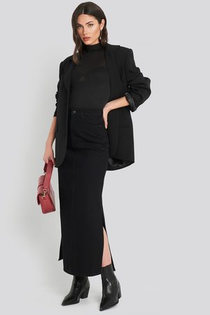 NA-KD Side Split Maxi Denim Skirt - Black
