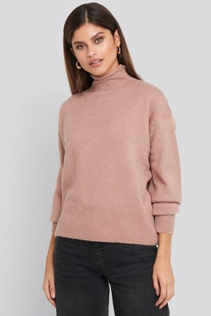 NA-KD Turtleneck Oversized Knitted Sweater - Pink