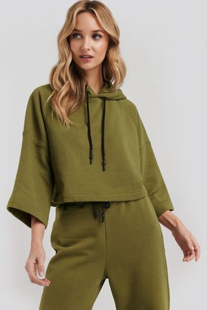 NA-KD Half Sleeve Cropped Hoodie - Green