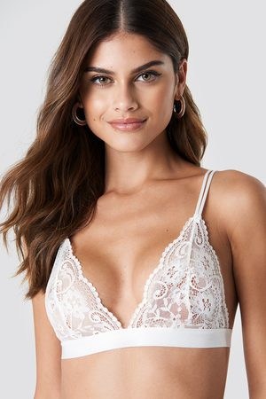 NA-KD Two Strap Lace Bra - White