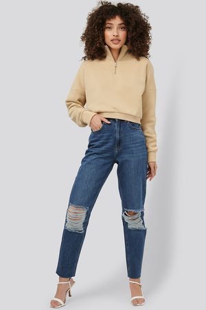 NA-KD Ripped Knee Mom Fit Jeans - Blue