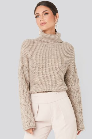 NA-KD Cable Sleeve High Neck Sweater
