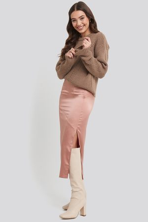 NA-KD Split Seam Satin Midi Skirt - Pink